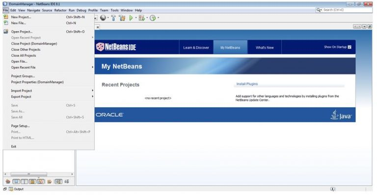 Creating a new project in NetBeans IDE