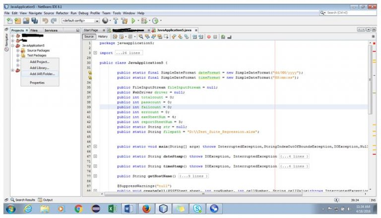 Selecting the Project Libraries in NetBeans IDE