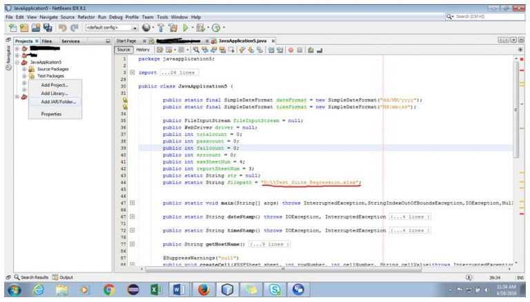 Location of the Excel spreadsheet in NetBeans IDE