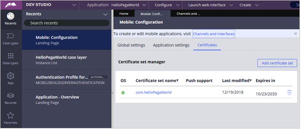 Add Certificate Set